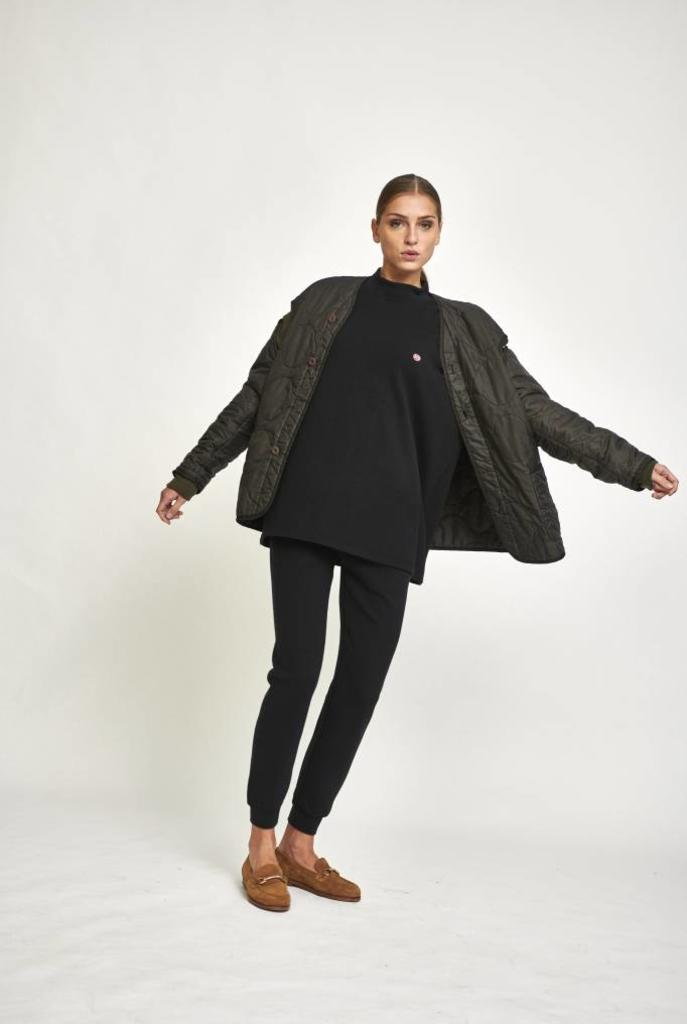 V neck padding coat dark grey