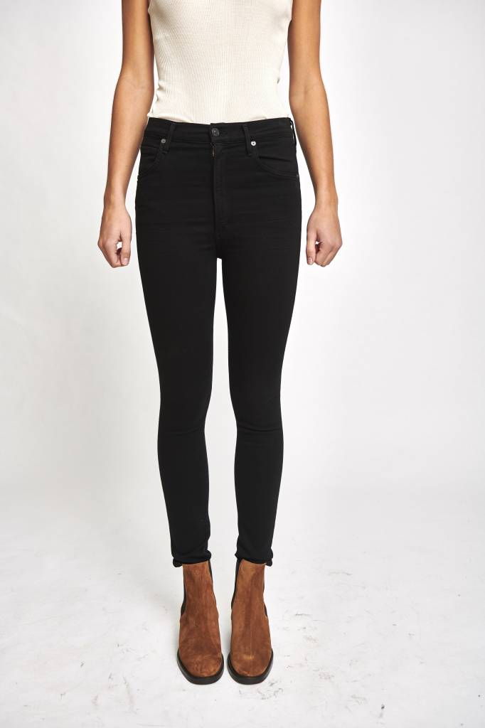 Chrissy uber high rise skinny jeans in all black