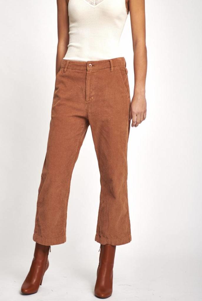 Rib cropped pantalon camel