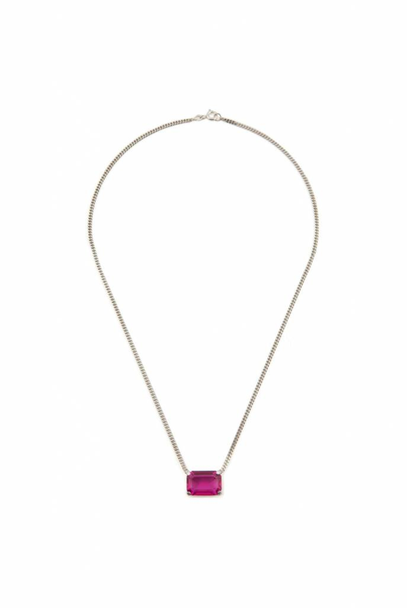 Necklace silver rectangle fuchsia corundum
