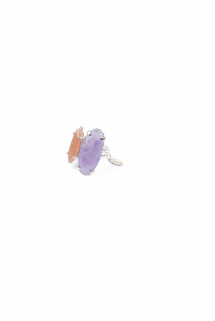 silver ring with oval amethyst and sunstone
