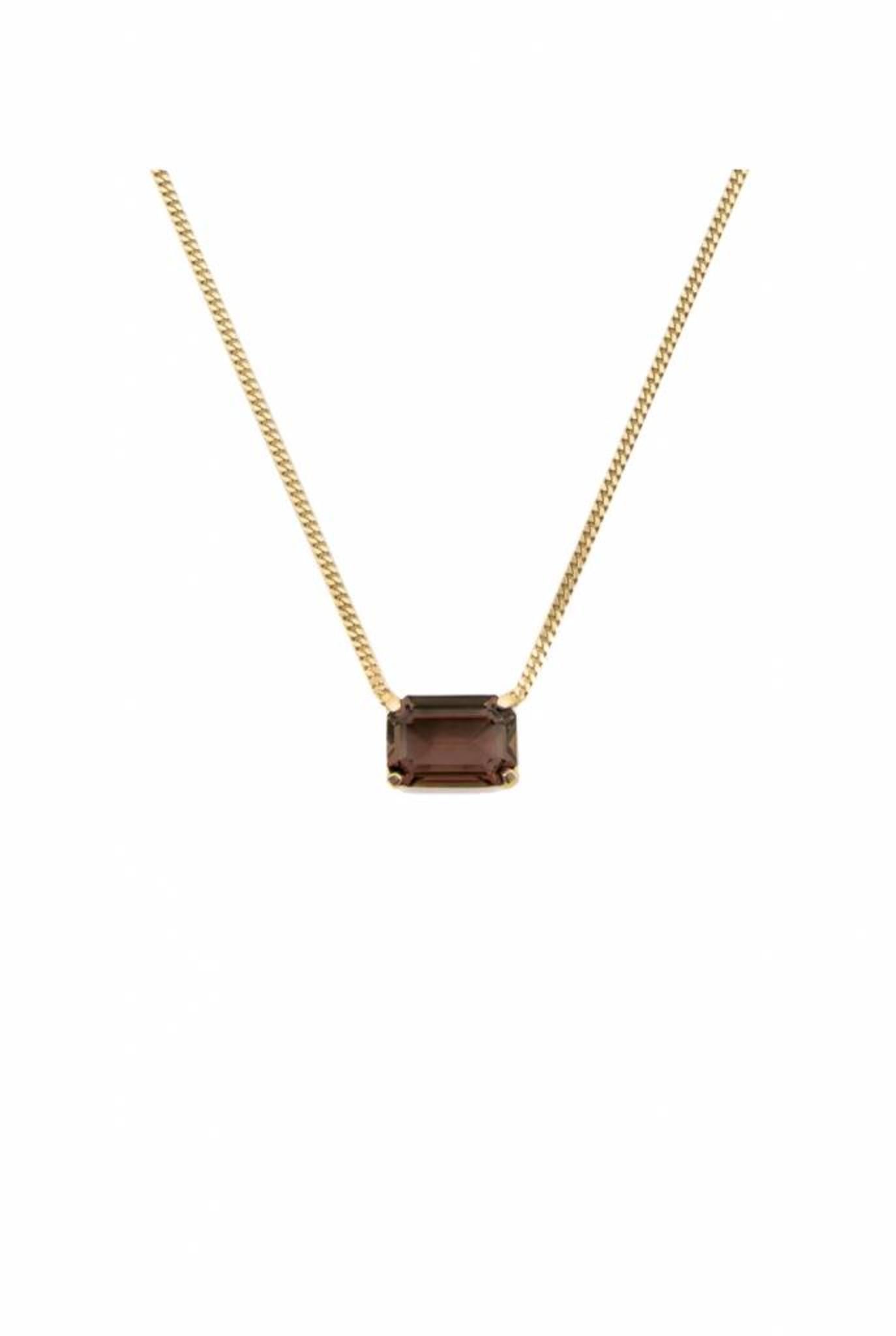 Necklace goldplated rectangle smoky quartz