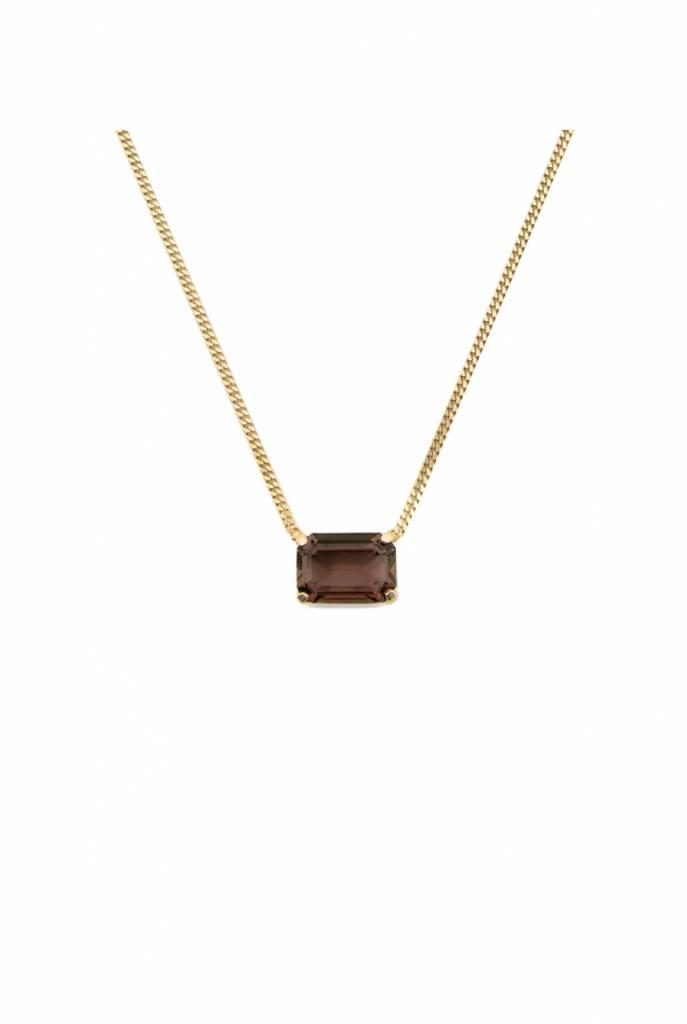 Necklace goldplated rectangle smoky quartz