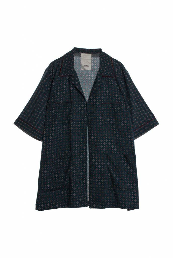 short sleeve pyjama shirt blue red print