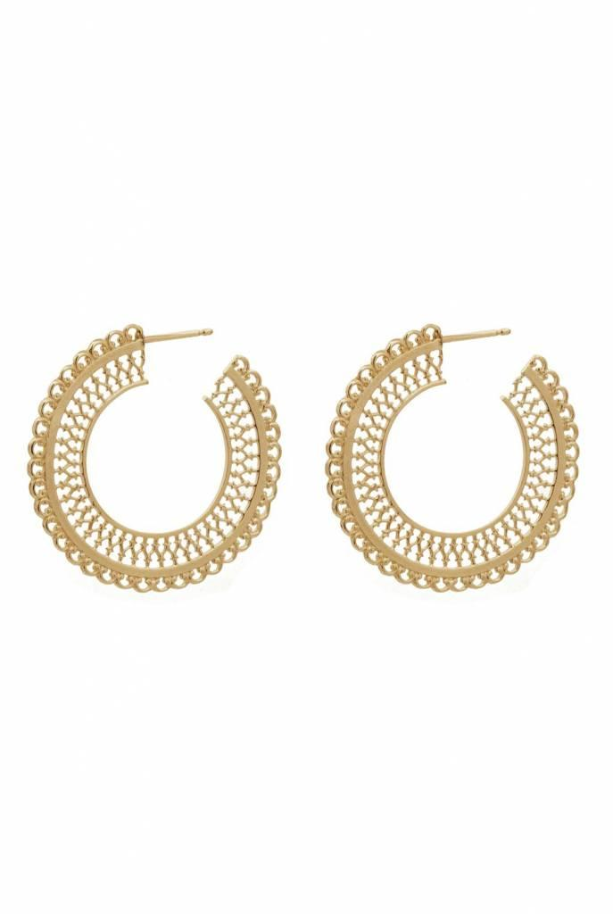earrings round filigree gold plated