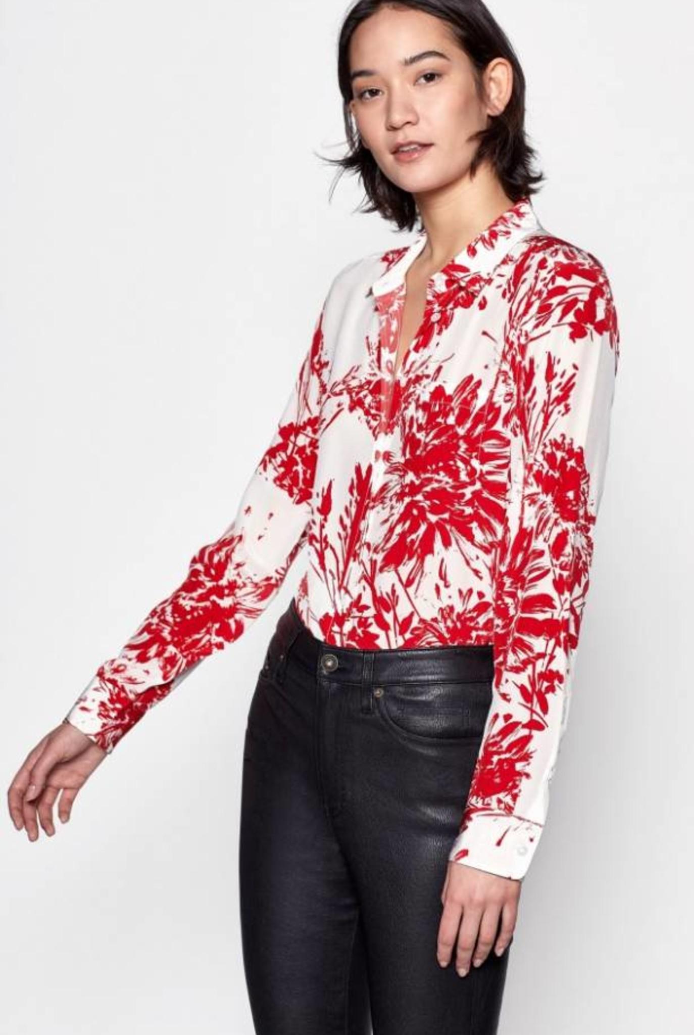 Brett blouse white blood moon print