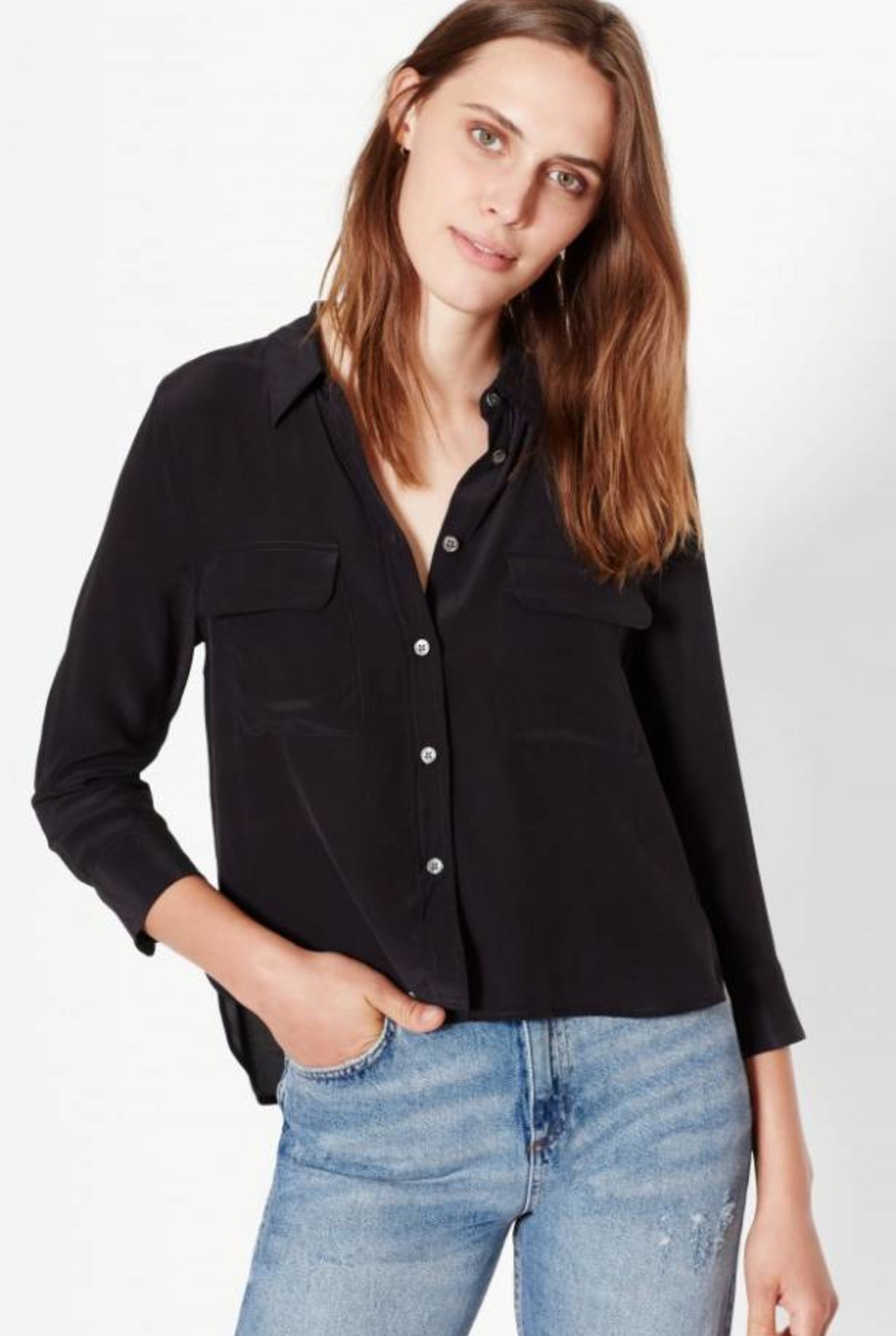 Cropped 3/4 sleeve signature blouse true black