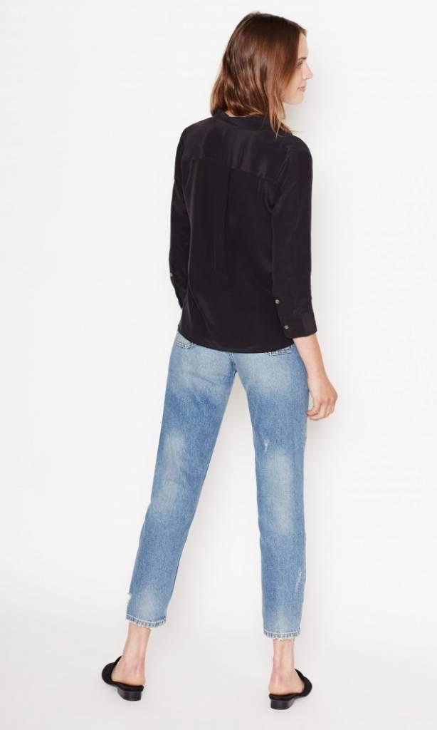 Cropped 3/4 sleeve signature blouse true black