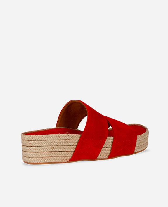 Mulle suede slipper poppy