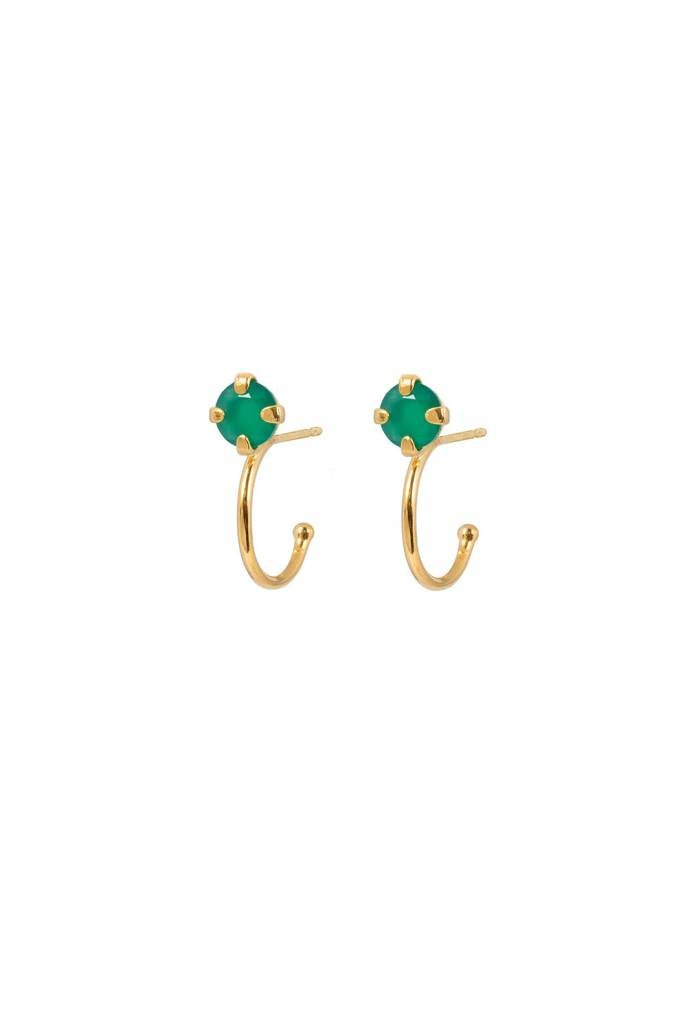 green agate hoops earrings gold plated