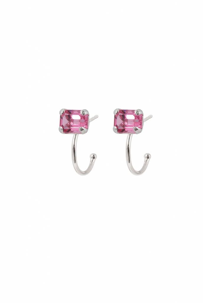 rose swarovski crystal hoops earrings silver