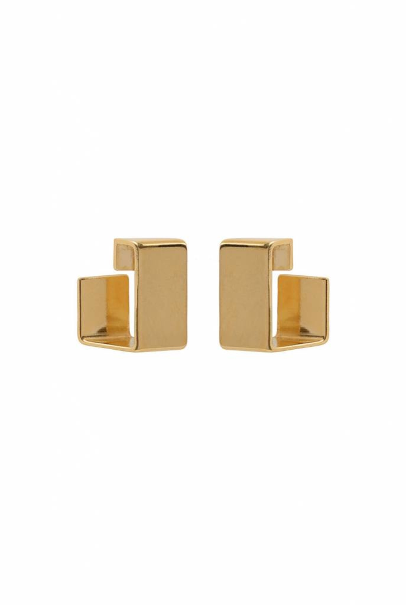 open square earrings gold plated