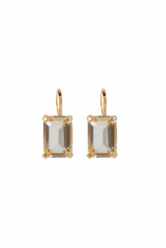 citrine crystal square earrings gold plated