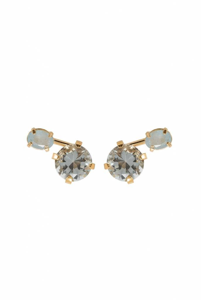 green crystal and aquamarine studs earrings gold plated