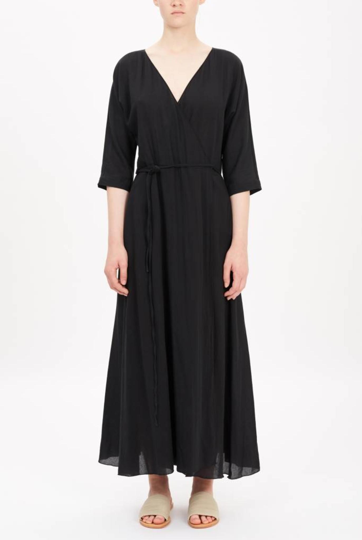 cross-over dress black cotton