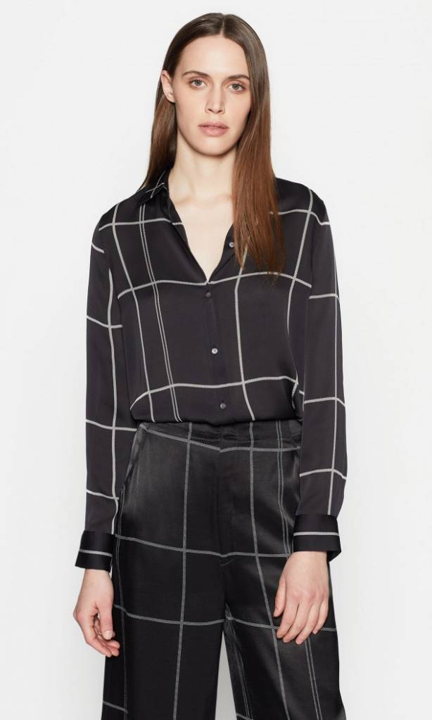 Essential blouse true black nature white check