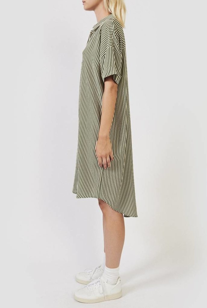Daisy shirt dress moss green stripe