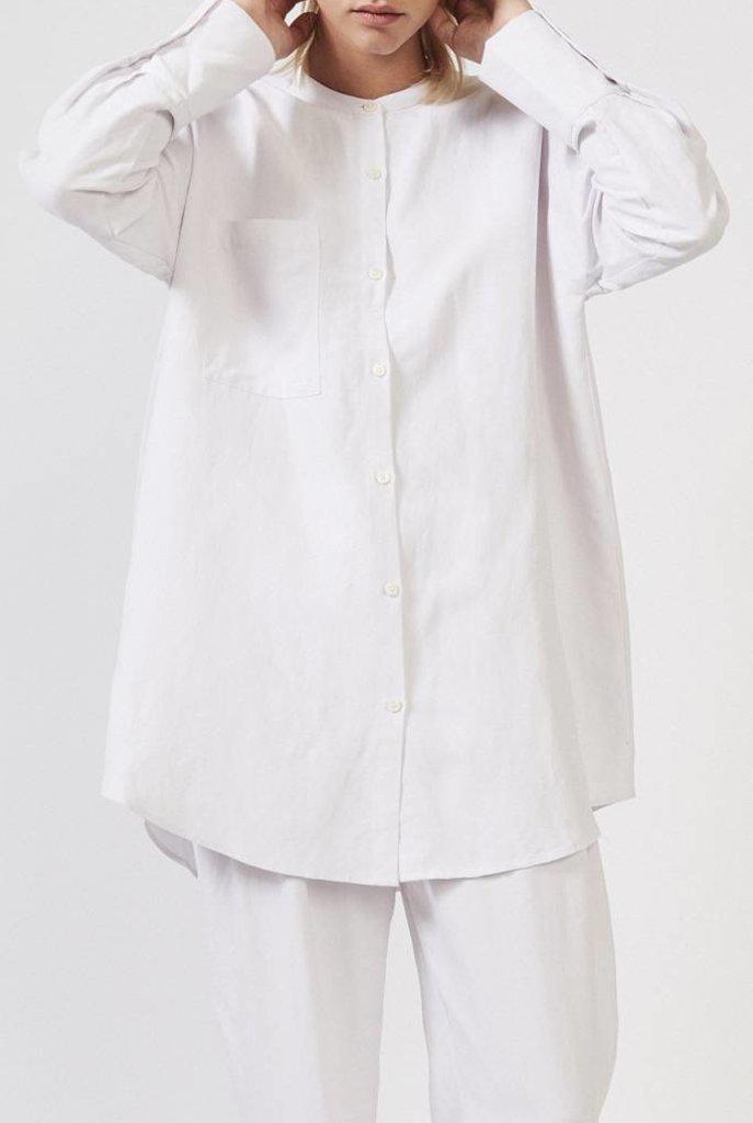 Mandarin shirt white rose