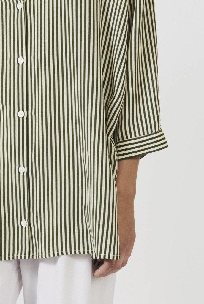 Bianca straight shirt moss green stripe