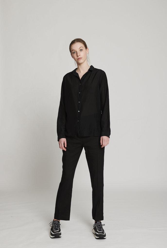 thin blouse black