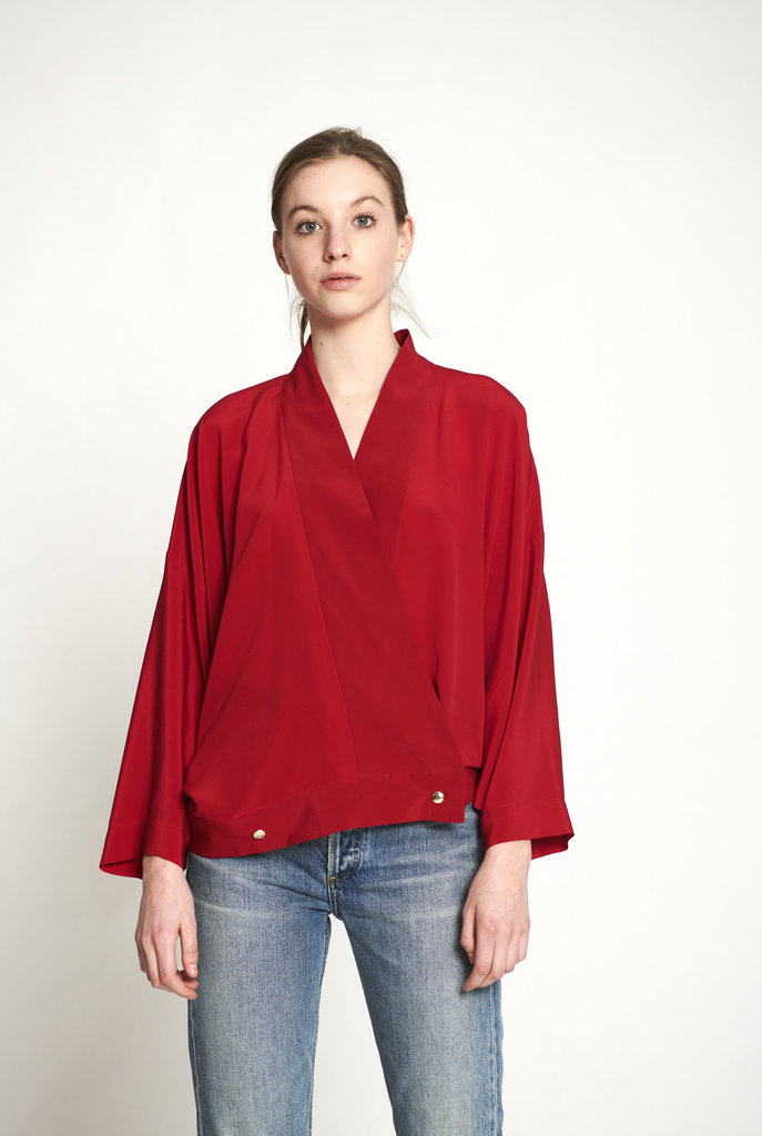 Crossover blouse silk red