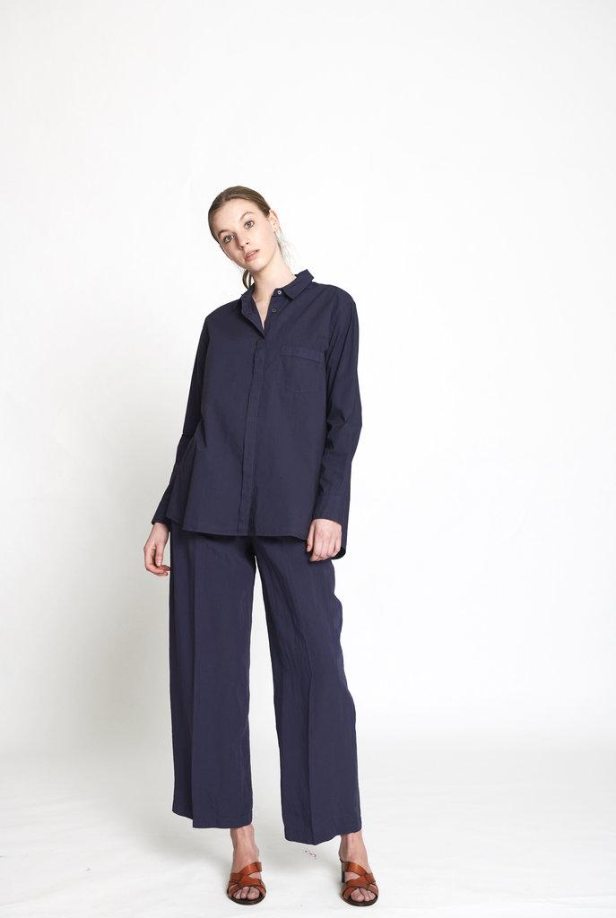 crisp cotton blouse ink blue