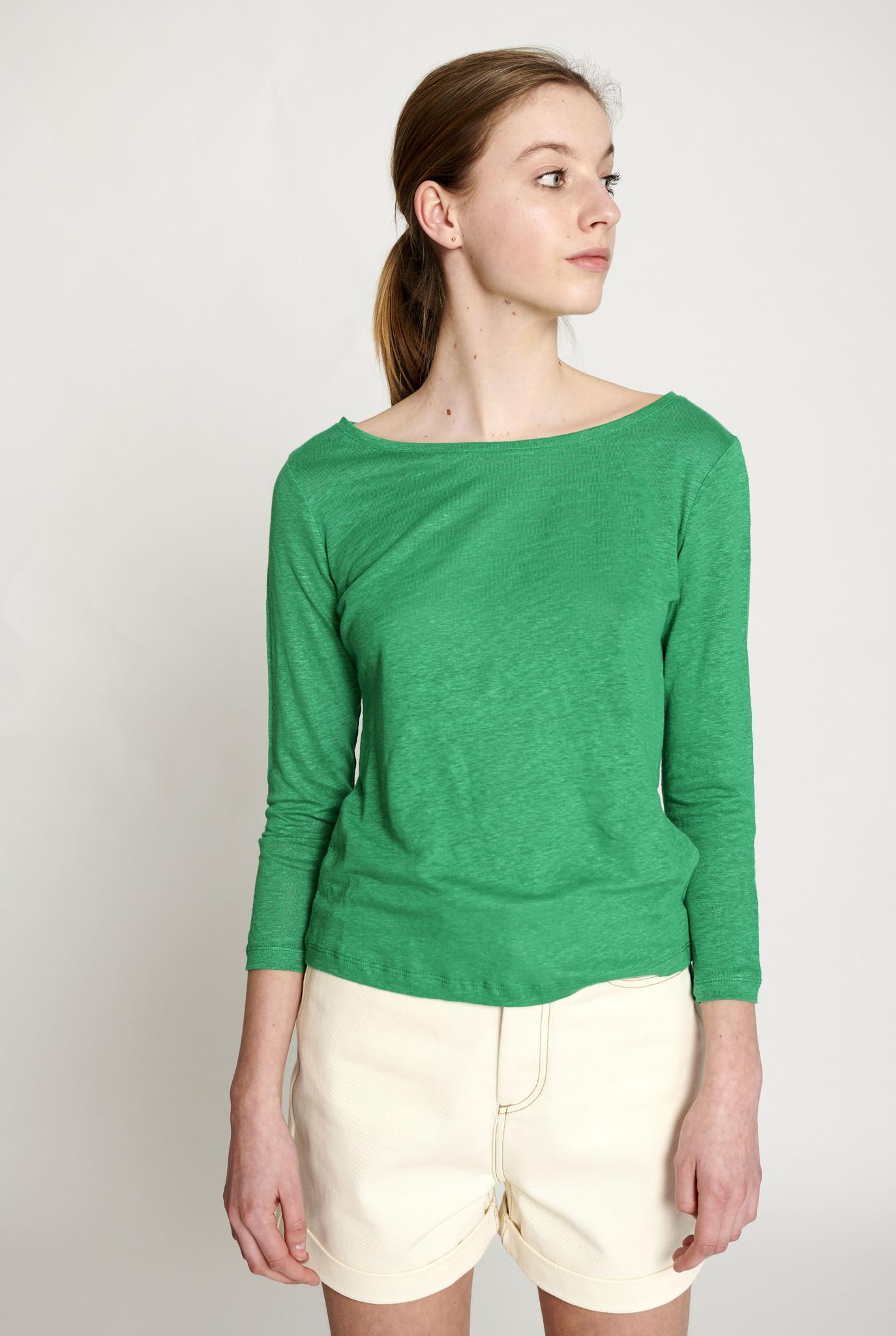 Lino 3/4 shirt Emerald