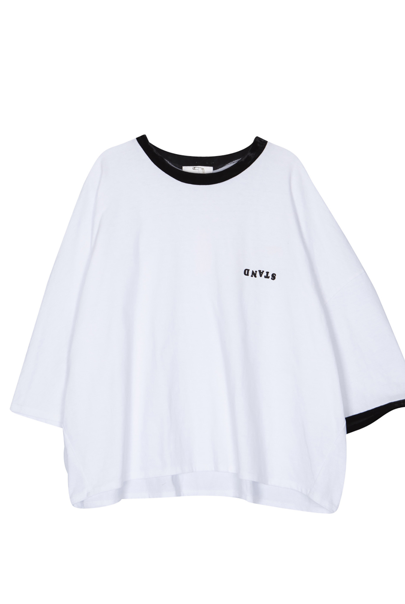 Rayon collar t-shirt white