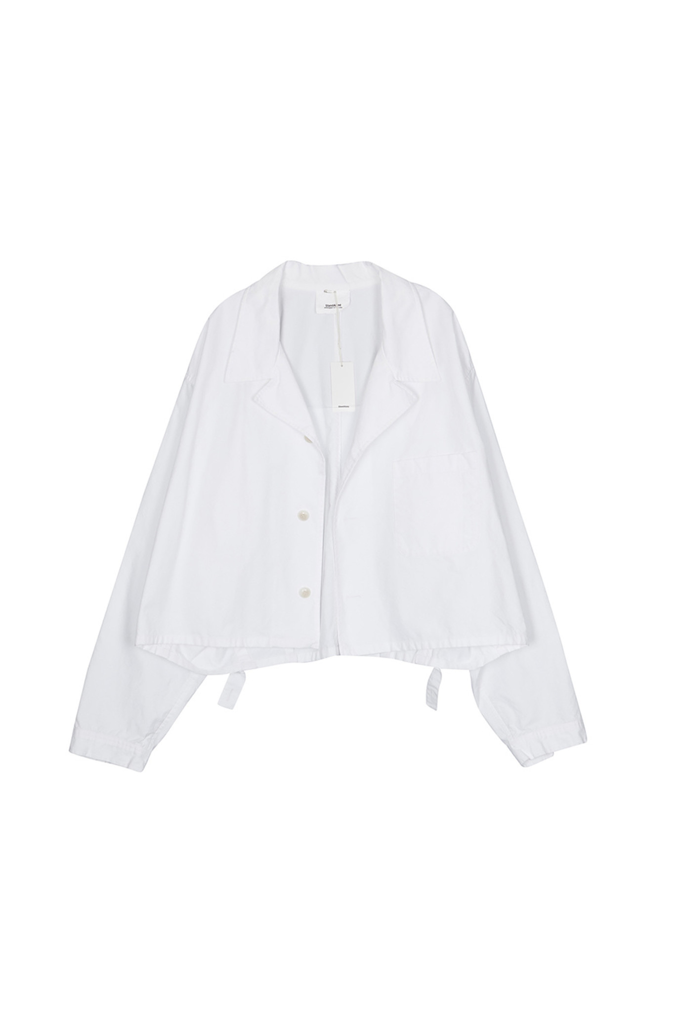 Buttoned down cotton jacket white