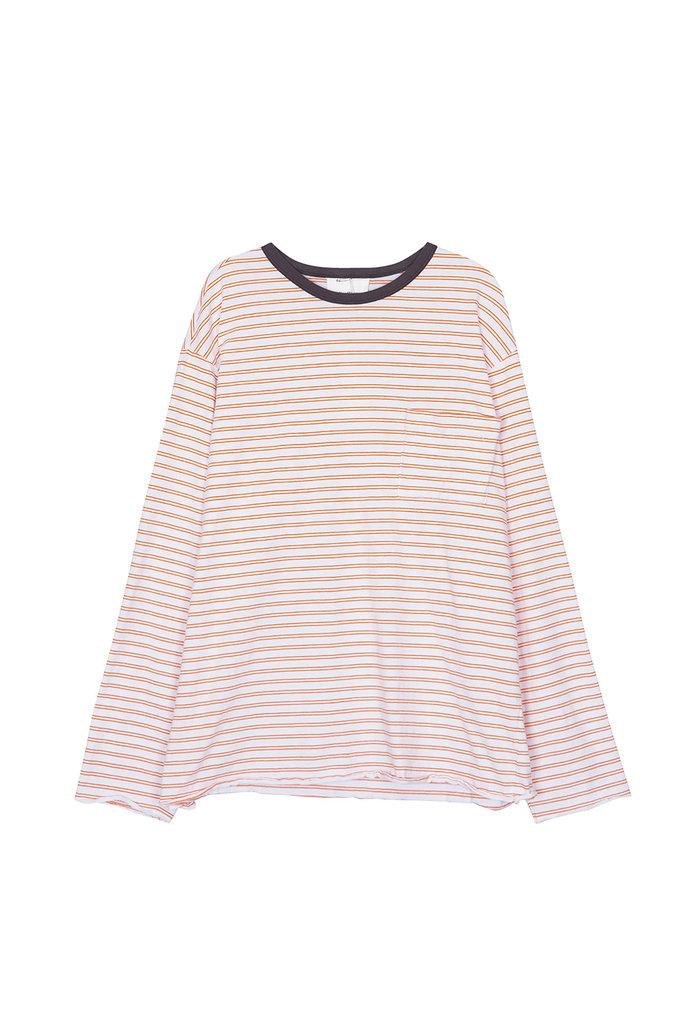 Thick stripe t-shirt orange white