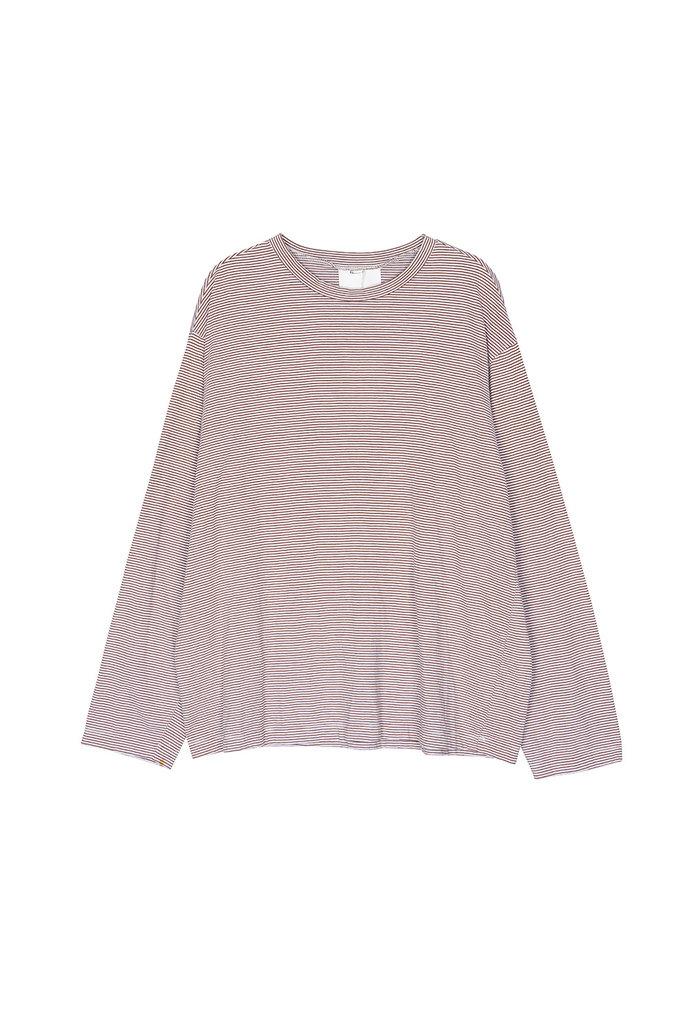 Thin stripe t-shirt brown white