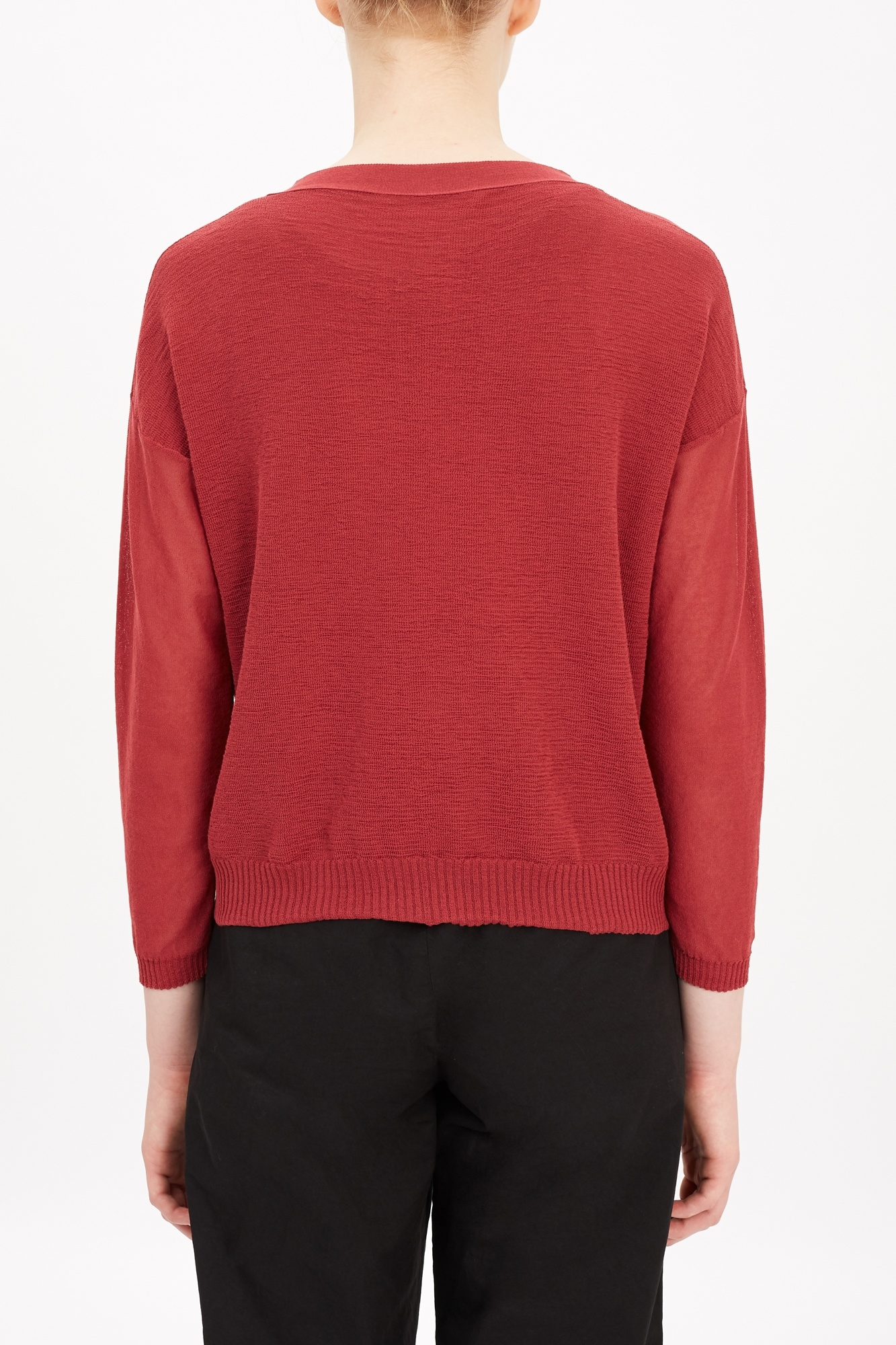 button cardigan blood red