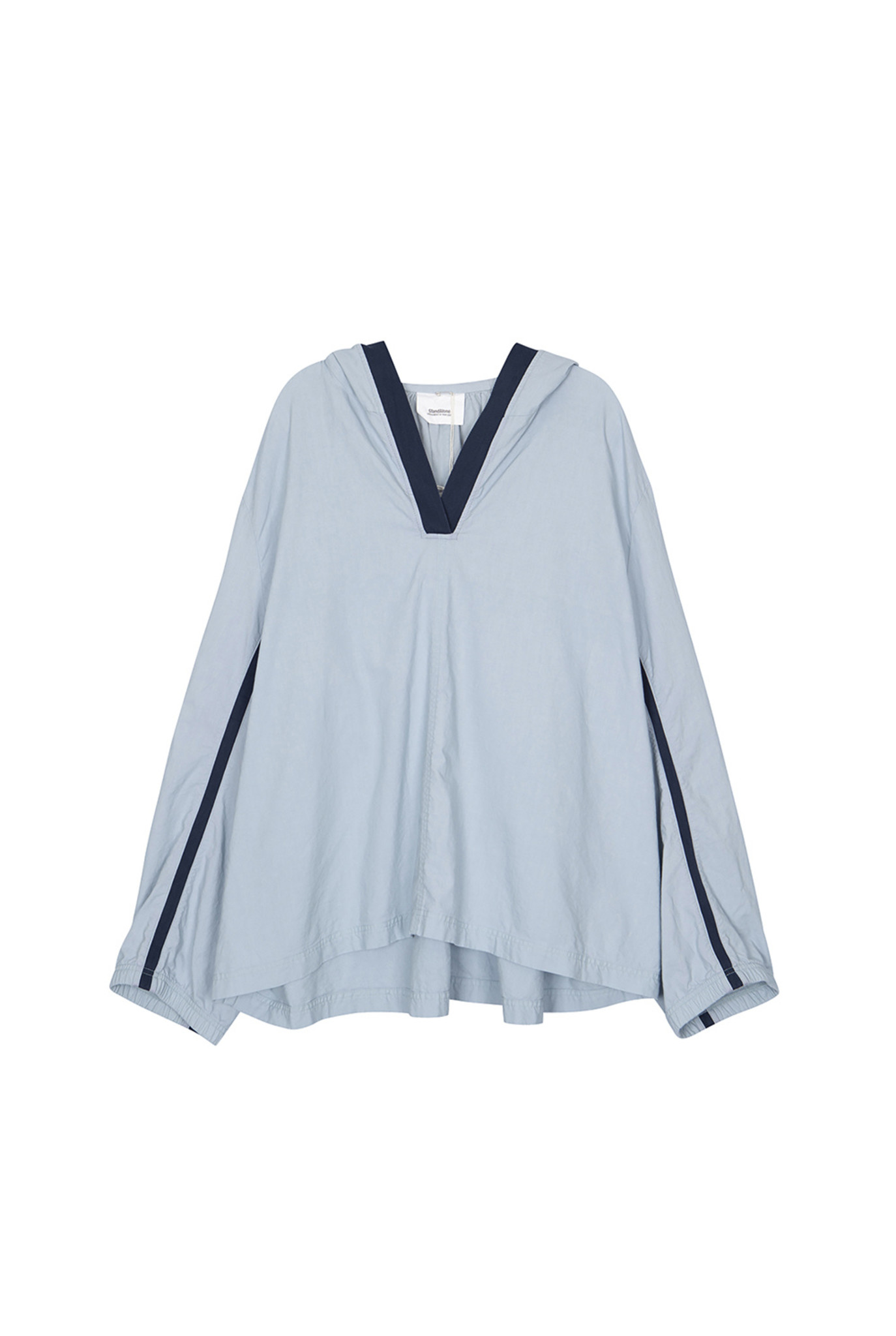 Hooded shirt light blue and navy