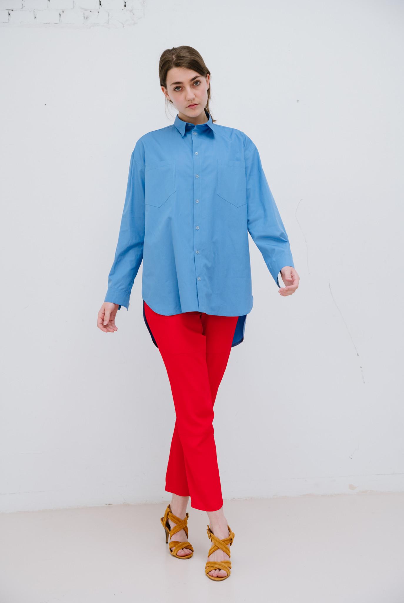 No 5 blouse blue cotton