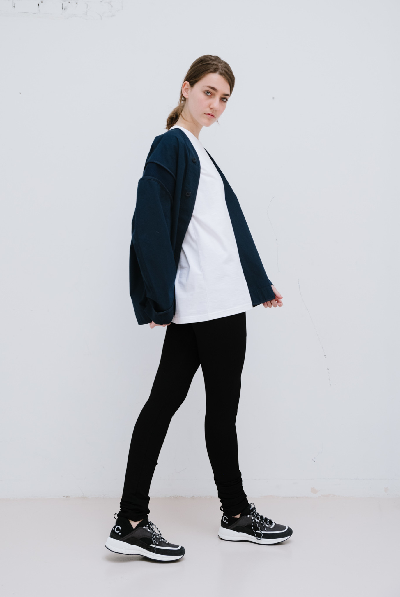Elastic sleeves jacket navy