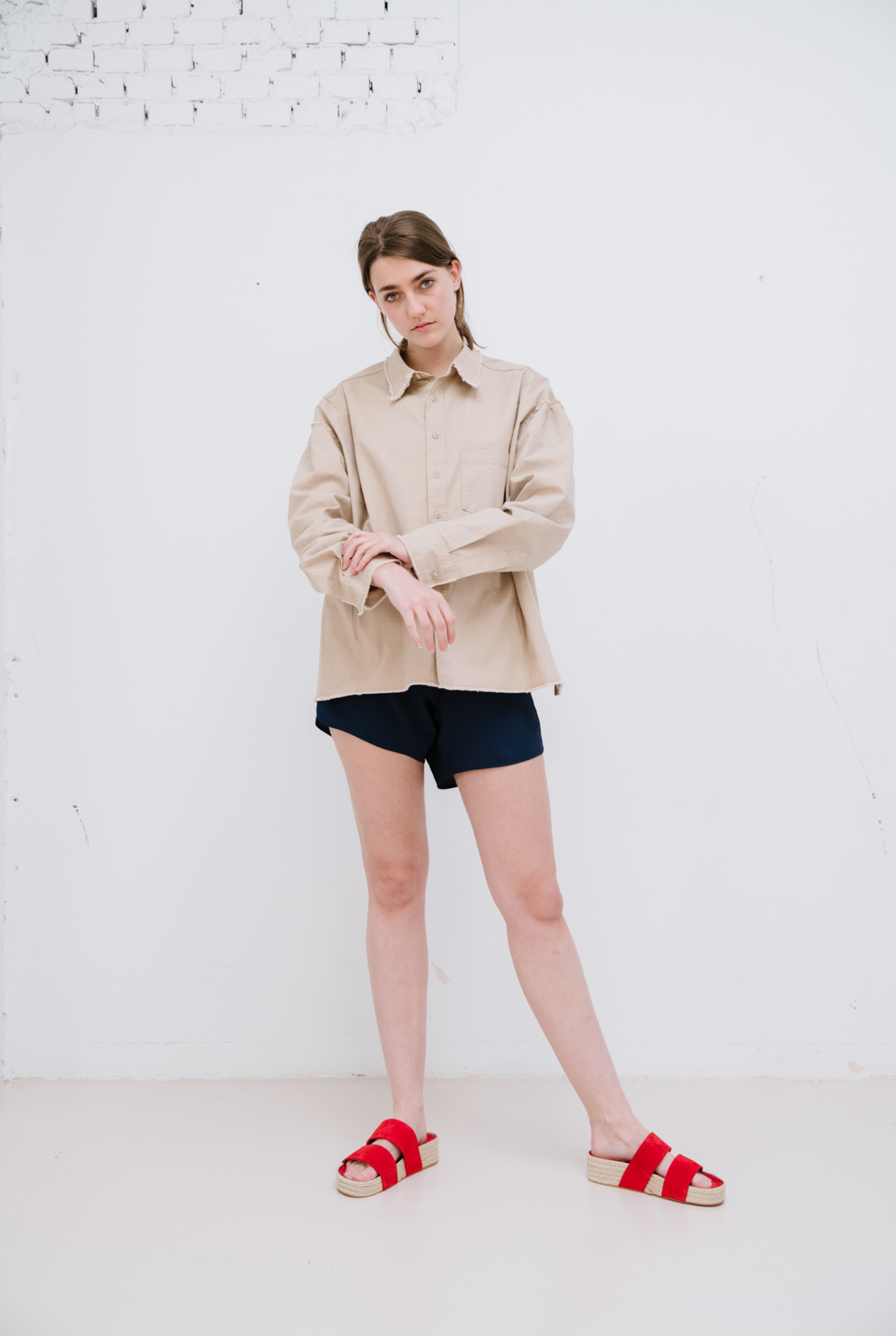 Long sleeve cotton shirt beige