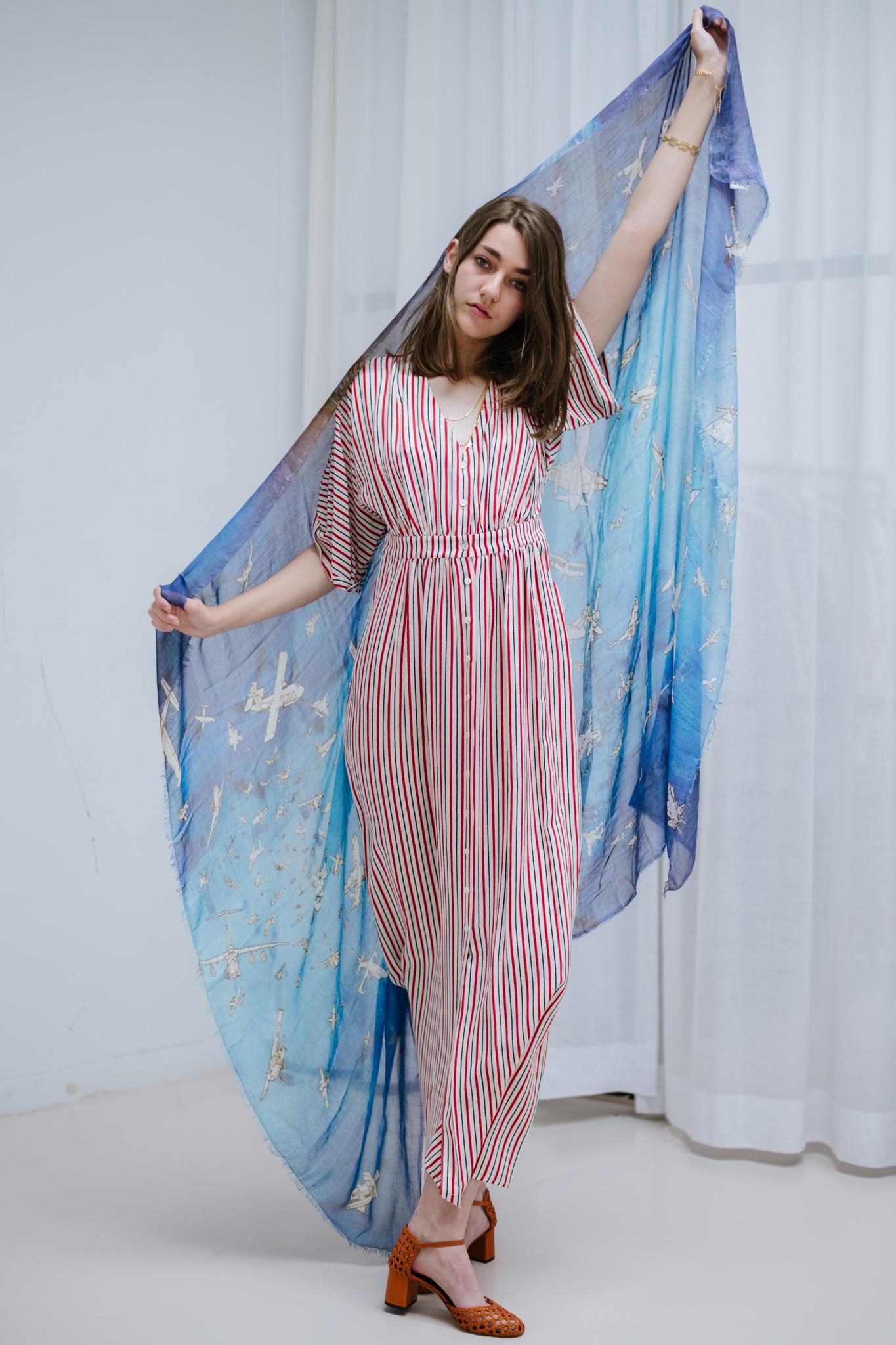 Lettie dress ecru/poppy stripe