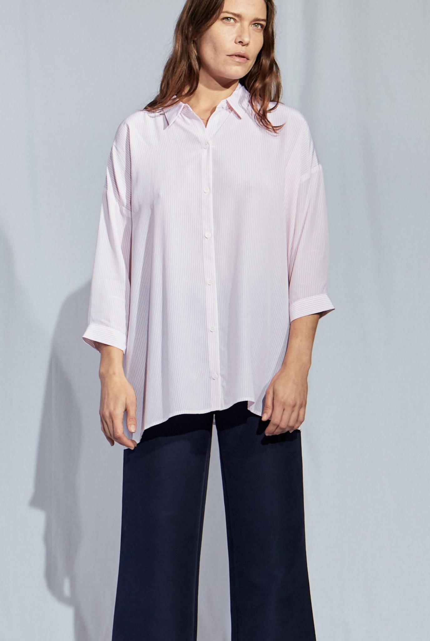 Bianca straight shirt pink stripe
