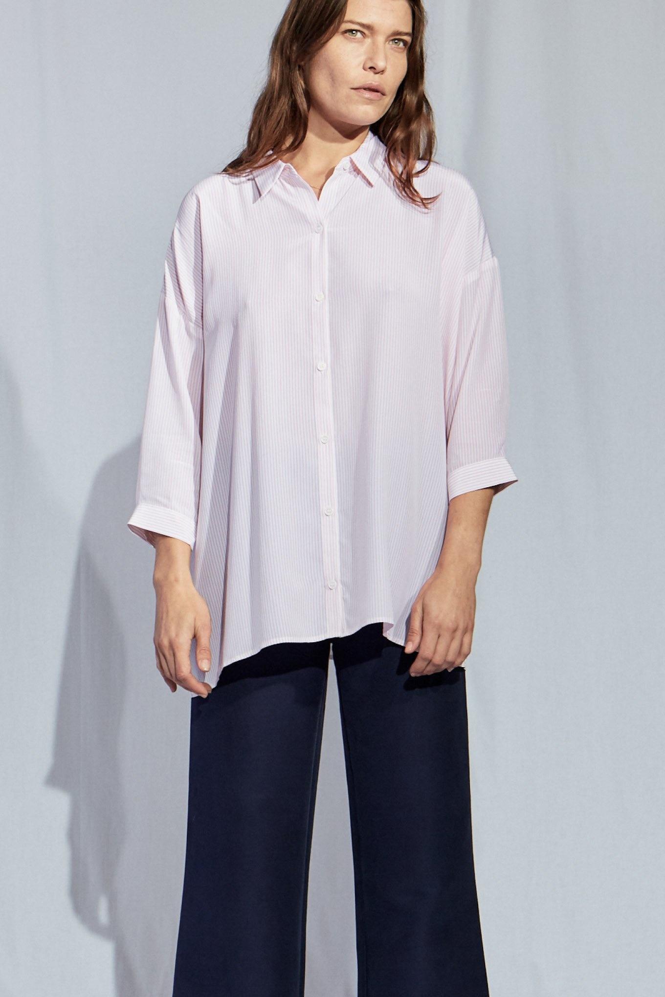 Bianca straight shirt pink stripe