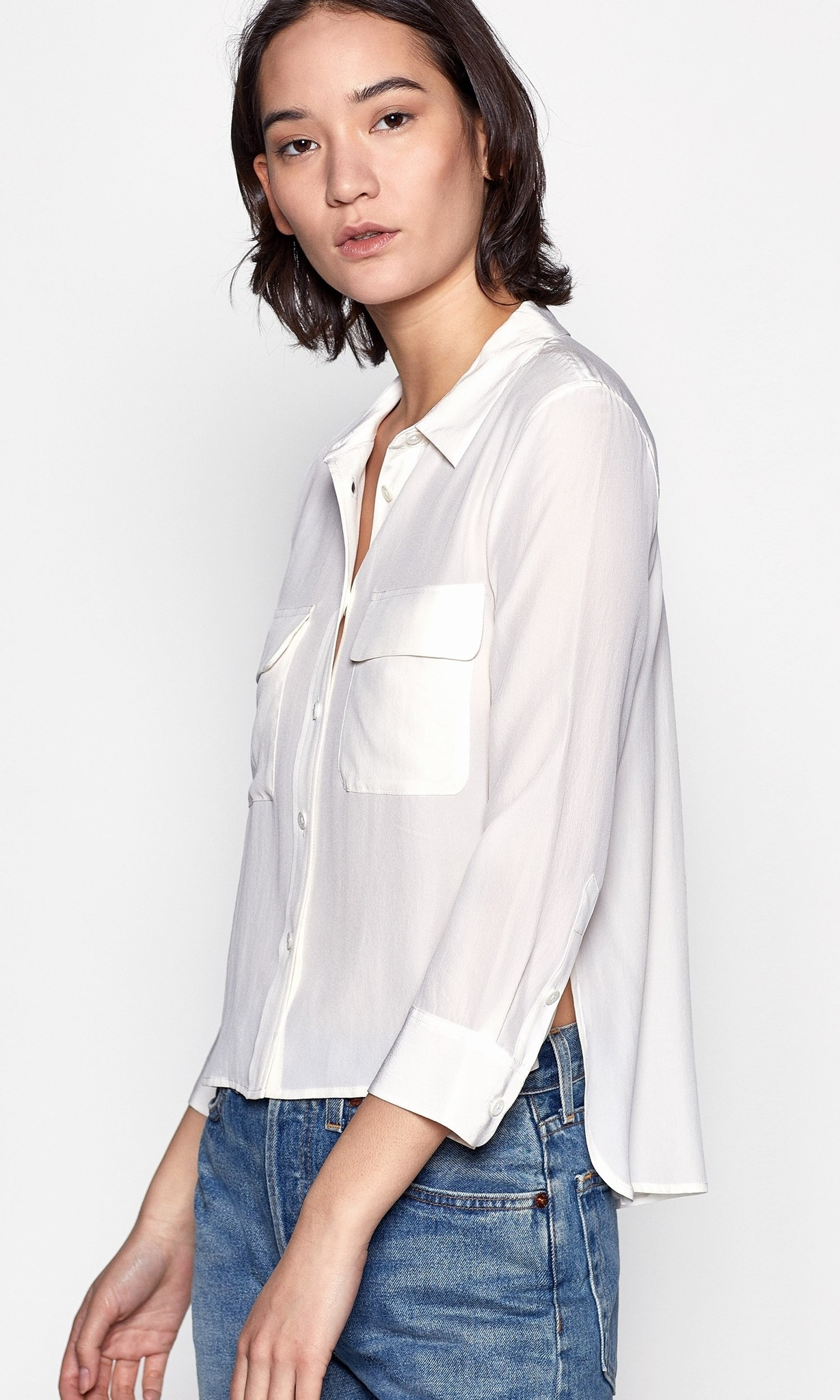 Cropped 3/4 sleeve signature blouse bright white