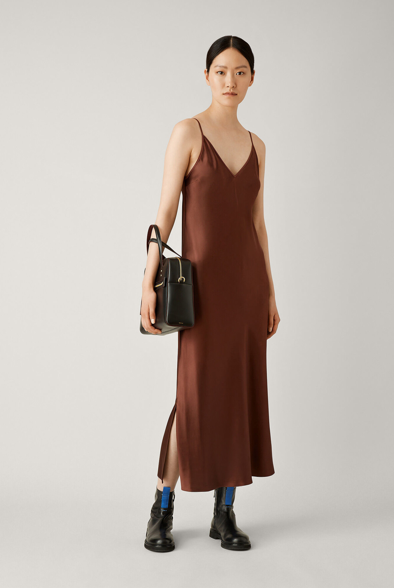 Clea dress burgundy brown