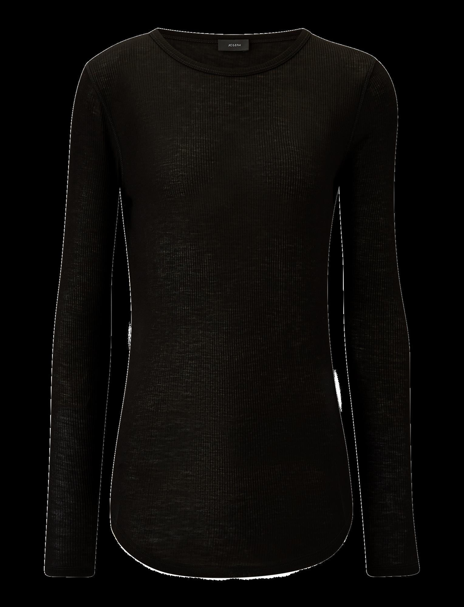 Round neck longsleeve rib t-shirt black