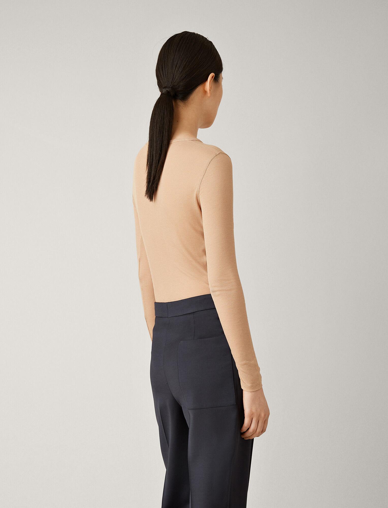 Round neck longsleeve rib t-shirt tan
