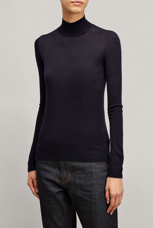 High neck ls knit cashair navy