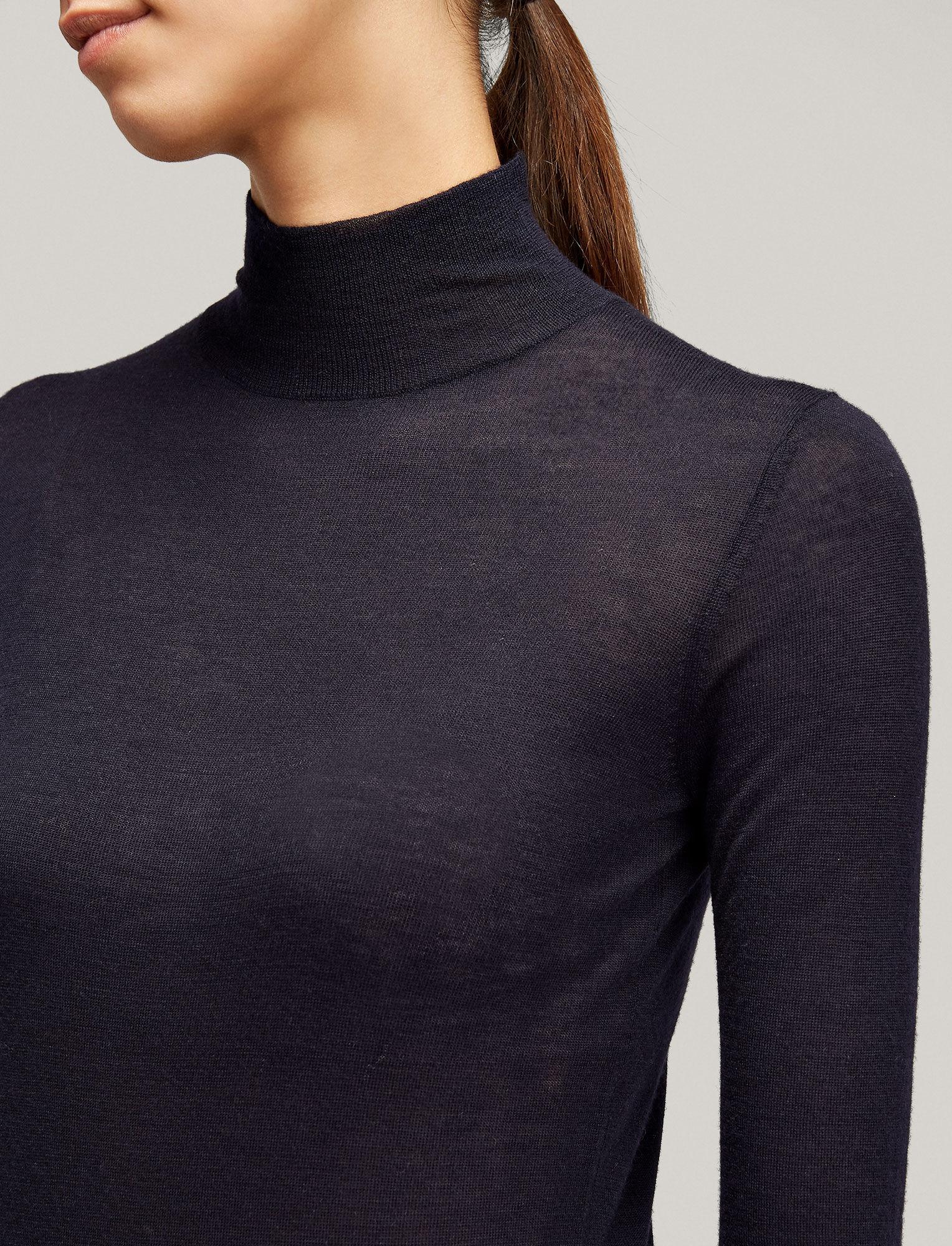 High neck ls knit cashair navy