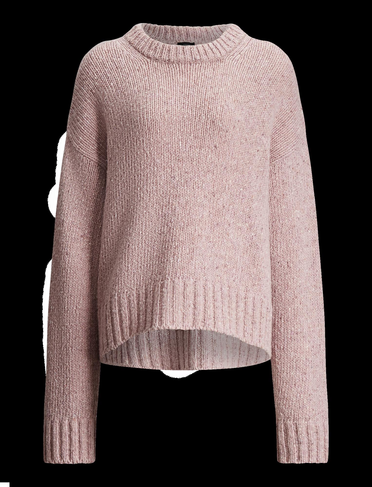 Round neck ls tweed knit pink