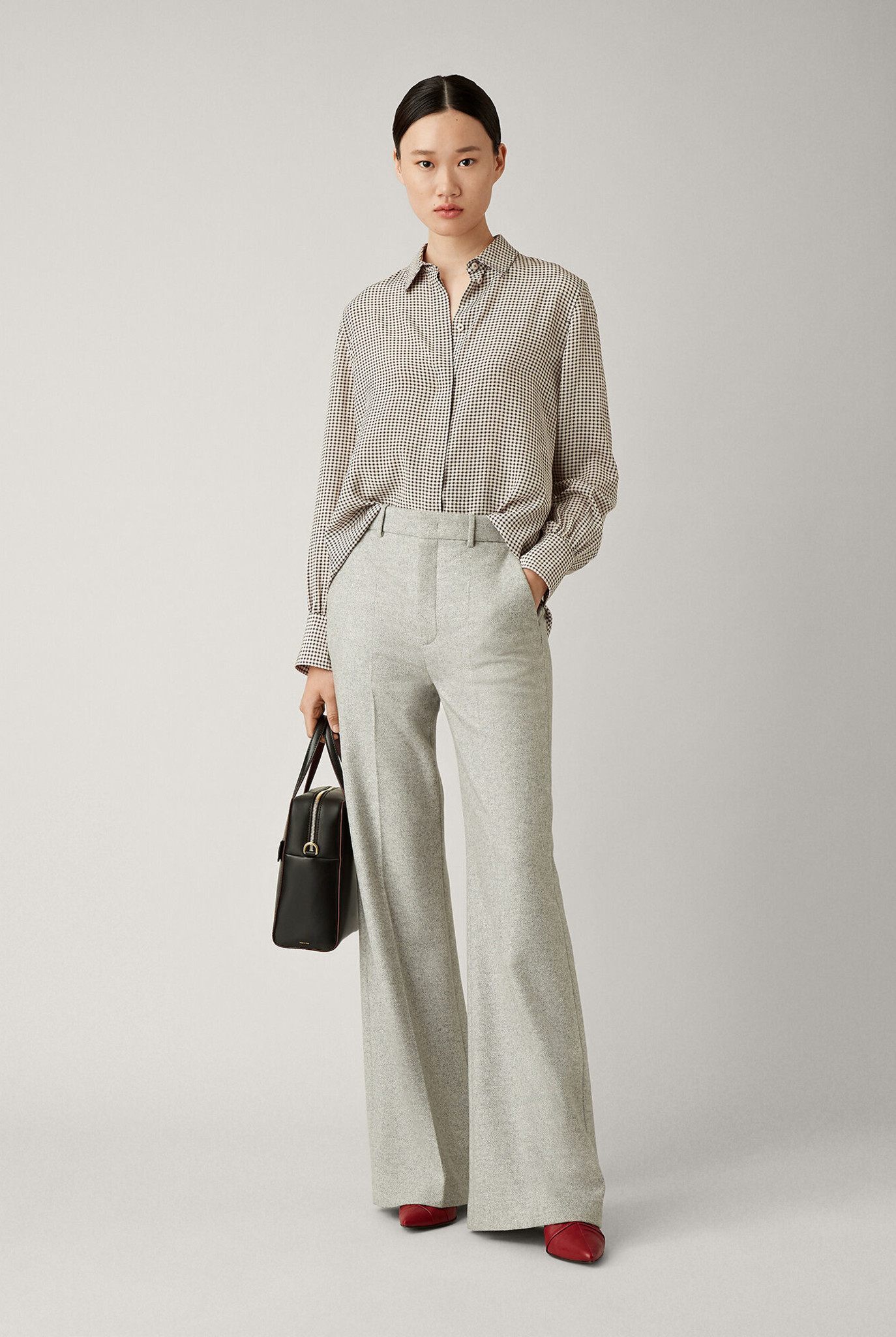 Jess Herringbone trouser Light grey