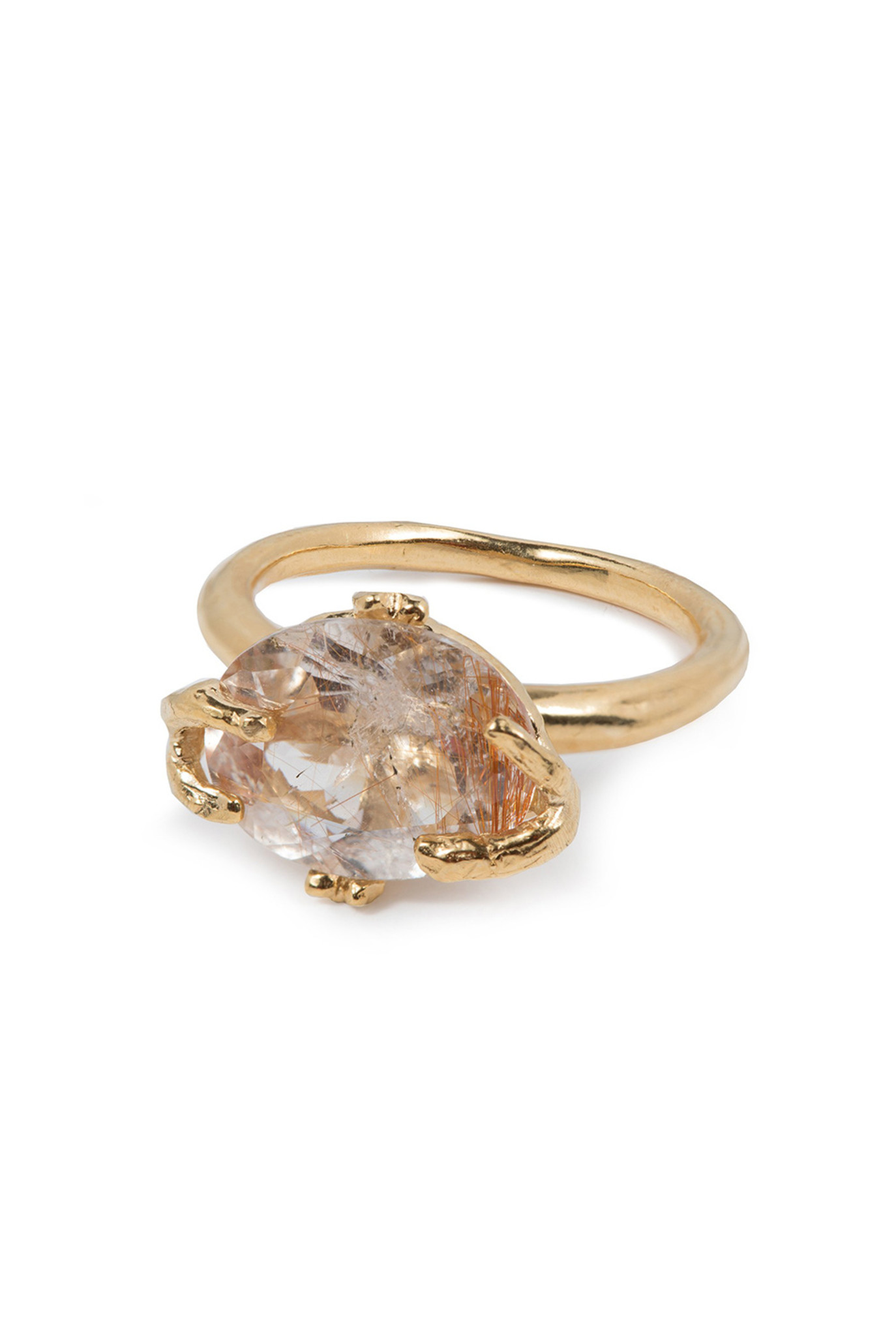 Small rutilated quartz branches ring goldplated