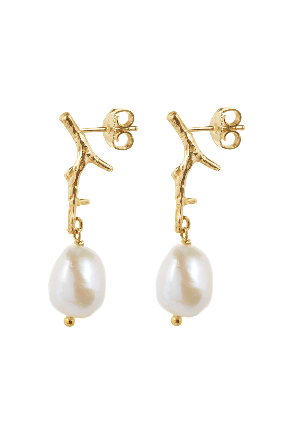 Big pearl on small branch earrings goldplated