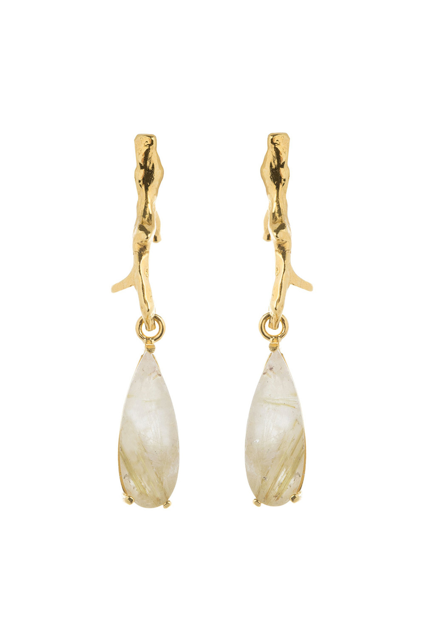 Golden rutilated quartz  branch earrings goldplated